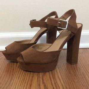 Brown Suede Peep Toe Platform Heels